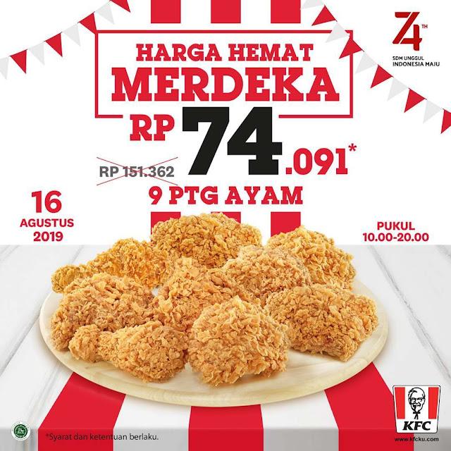 #KFC - #Promo Harge Hemat Merdeka 9 Ayam Hanya 74K (16 Agustus 2019)