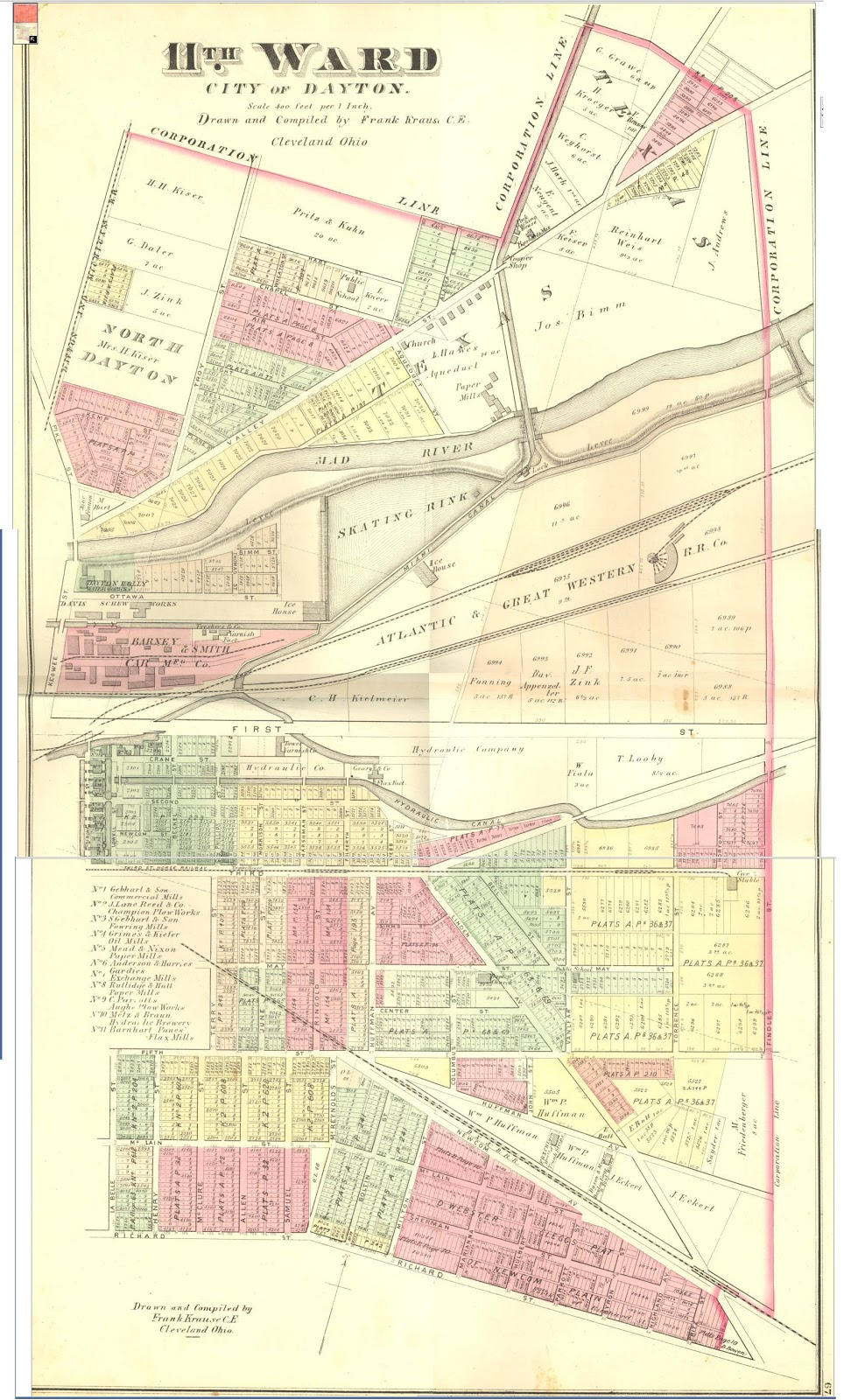 while wandering around that neighborhood 1875 map in hand i realized that once the area was dominated by dayton hydraulic company and was served by a