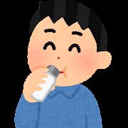 小さい水筒で飲む人のイラスト(男性)
