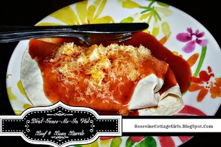 Smothered Beef and Bean Burrito, Wet Beef and Bean burrito, by Rosevine Cottage Girls