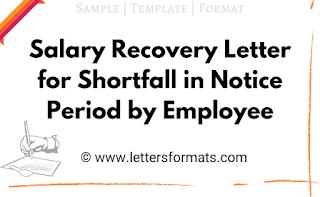 notice period shortfall letter