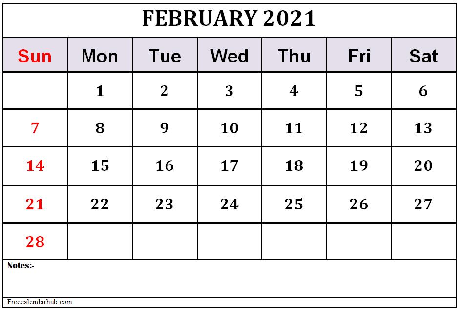 February 2021 Calendar Template Free Download