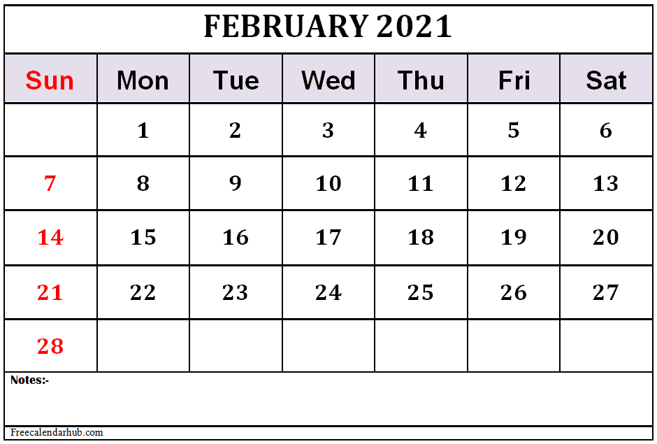 February 2021 Calendar Template Free Download