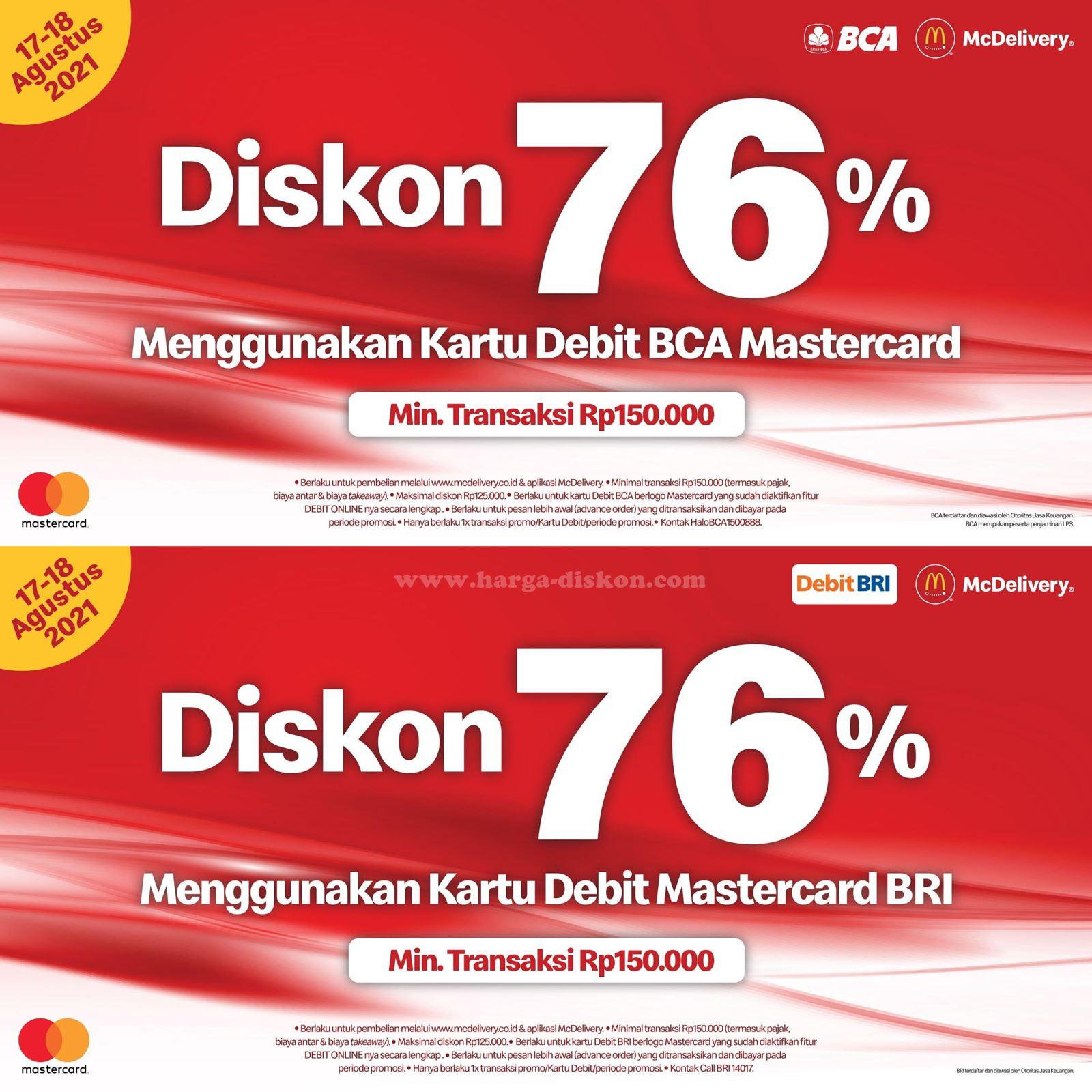 Promo McDonalds Diskon 76% dengan Debit BCA atau Debit BRI Periode 17-18 Agustus 2021