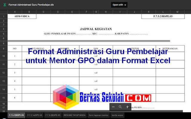Download Administrasi Guru Pembelajar Format Excel untuk Mentor dan IN