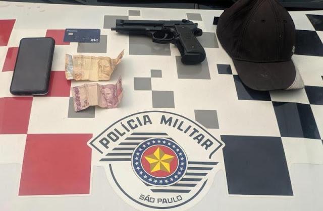 Assaltante é preso em flagrante após roubar pedestre no Centro de Dracena com pistola de brinquedo