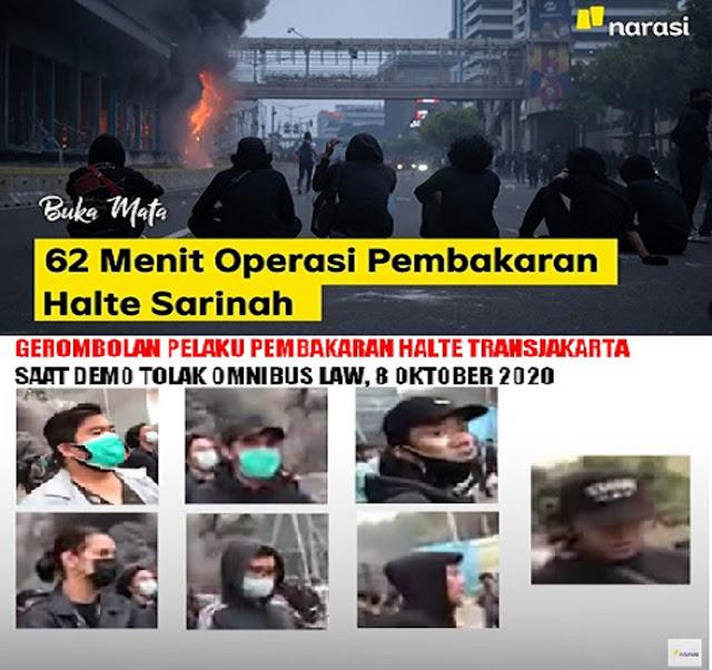 Keren Gila! Jenius! Narasi TV Berhasil Ungkap Pelaku Pembakaran Halte TransJakarta Saat Demo Omnibus Law