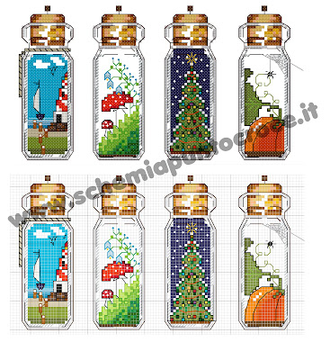 Cross Stitch Bottle #bottle#crosstitichbotte#ricamiportafortuna#bottigliettemagiche#ricamoportafortuna