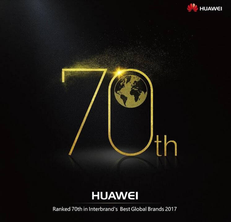 Huawei Claims #70 Spot on Interbrand's Best Global Brands 2017