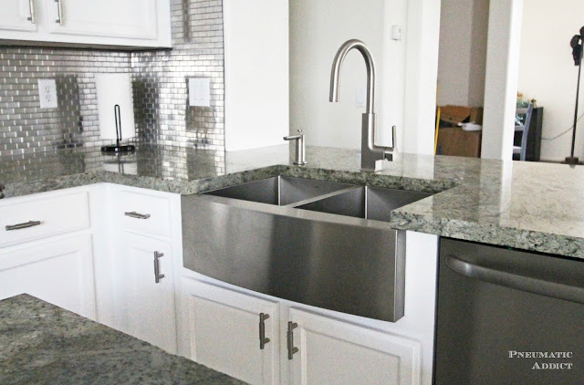 How to install an apron sink in a stock cabinet - How deep is a standard bathroom vanity ...