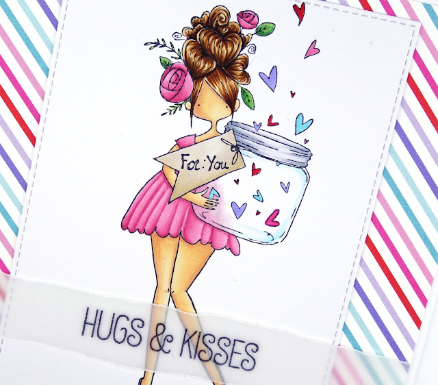 Handcrafted Valentine's Day card with girl with jar of hearts (image by Stamping Bella)