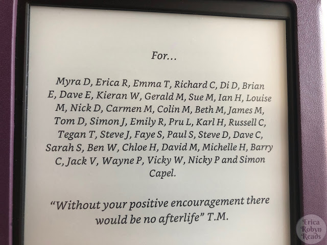 The dedication page of Dead Ends by Tony Moyle