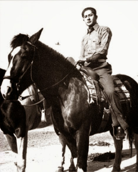 Jack LeMonde, members of the US Marine Corp, photographed on a horse near Pickwick Riding stables in Burbank, California on the morning of June 1945. A UFO was also seen in the picture.