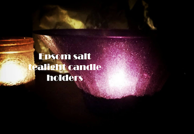 candle holders, epsom salt crystals luminaries, tealight candle holders