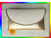 Clutch Pandan Pesta Polos Kombinasi Croco Gold