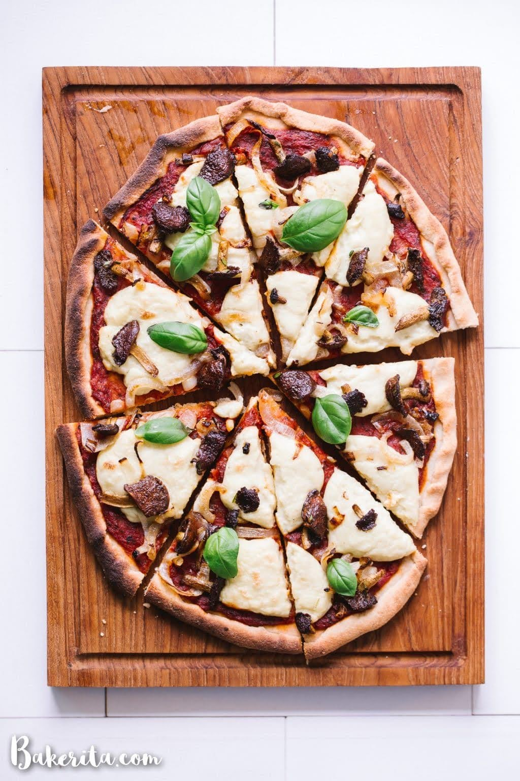 Gluten-Free Vegan Pizza with Mushrooms and Onions | Photo Courtesy of Bakerita