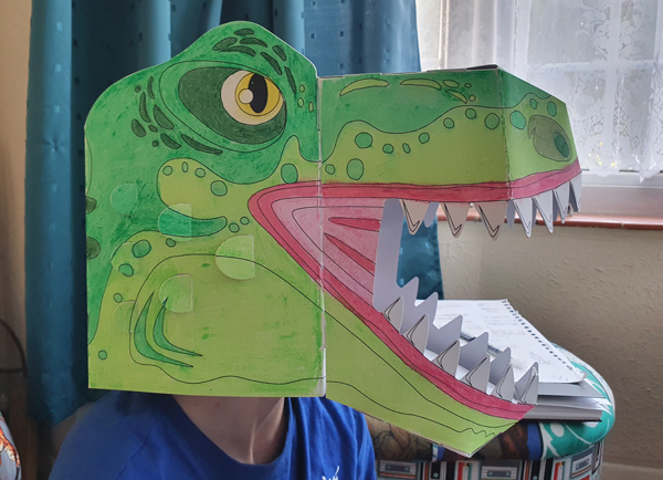 Dino Head modelled by 9 Year Old