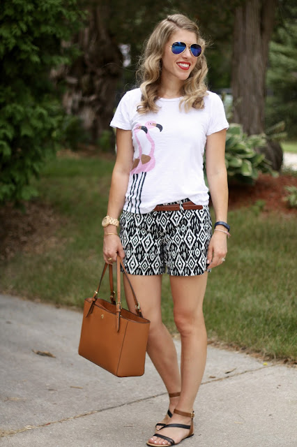 flamingo tee, ikat black and white shorts, sandals, Tory Burch tote, casual summer outfit