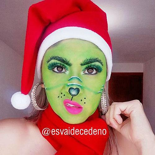 Chica guapa maquillada del Grinch