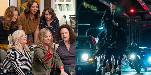 image showing a screenshot from 'Wine Country' of the six main female characters taking a selfie on the left, and showing a screenshot from 'John Wick 3' of Keanu Reeves riding a horse while being chased by ninja motorcyclists on the right