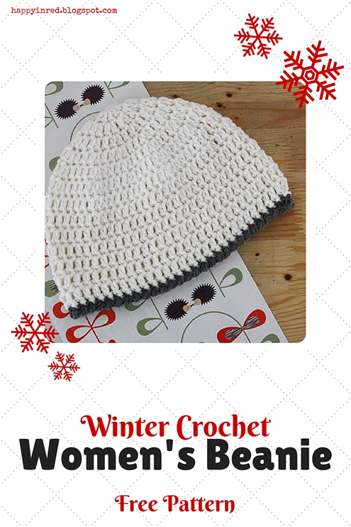 Free crochet pattern: women's beanie | Happy in Red