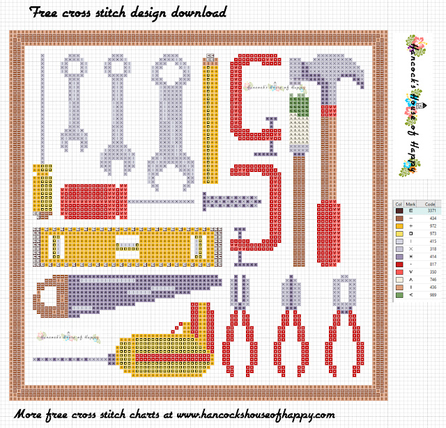 Free Cross Stitch Sampler Pattern. Cross Stitch Tool Box Mini Motifs for Gifts and Decorations.