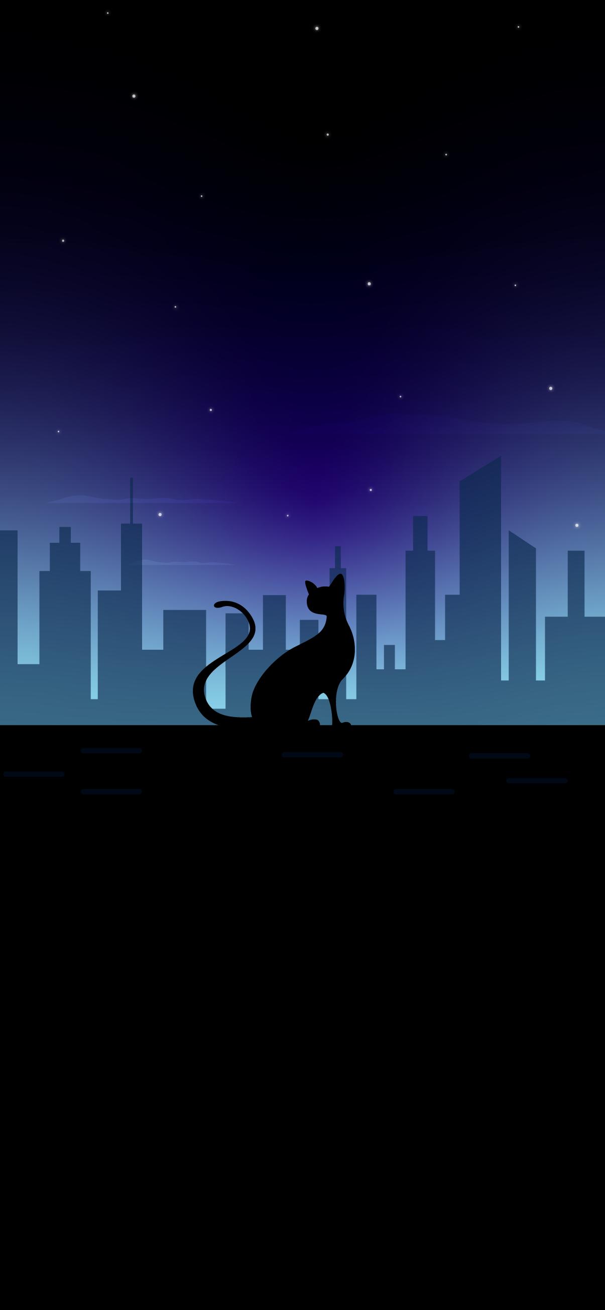 CAT  CITY BLACK AMOLED WALLPAPER 4K