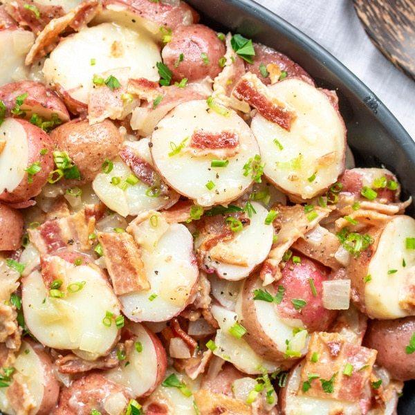 Close up top view of german potato salad.