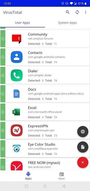 كيفية مسح ملفات APK لتطبيق Virustotal Mobile