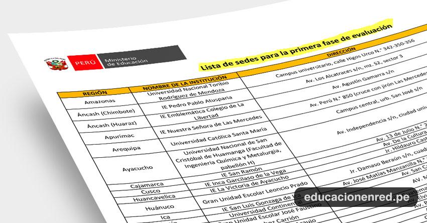 COAR: Lista de Sedes para la Primera Fase de Evaluación a los Colegios de Alto Rendimiento (10 Febrero) MINEDU - www.minedu.gob.pe