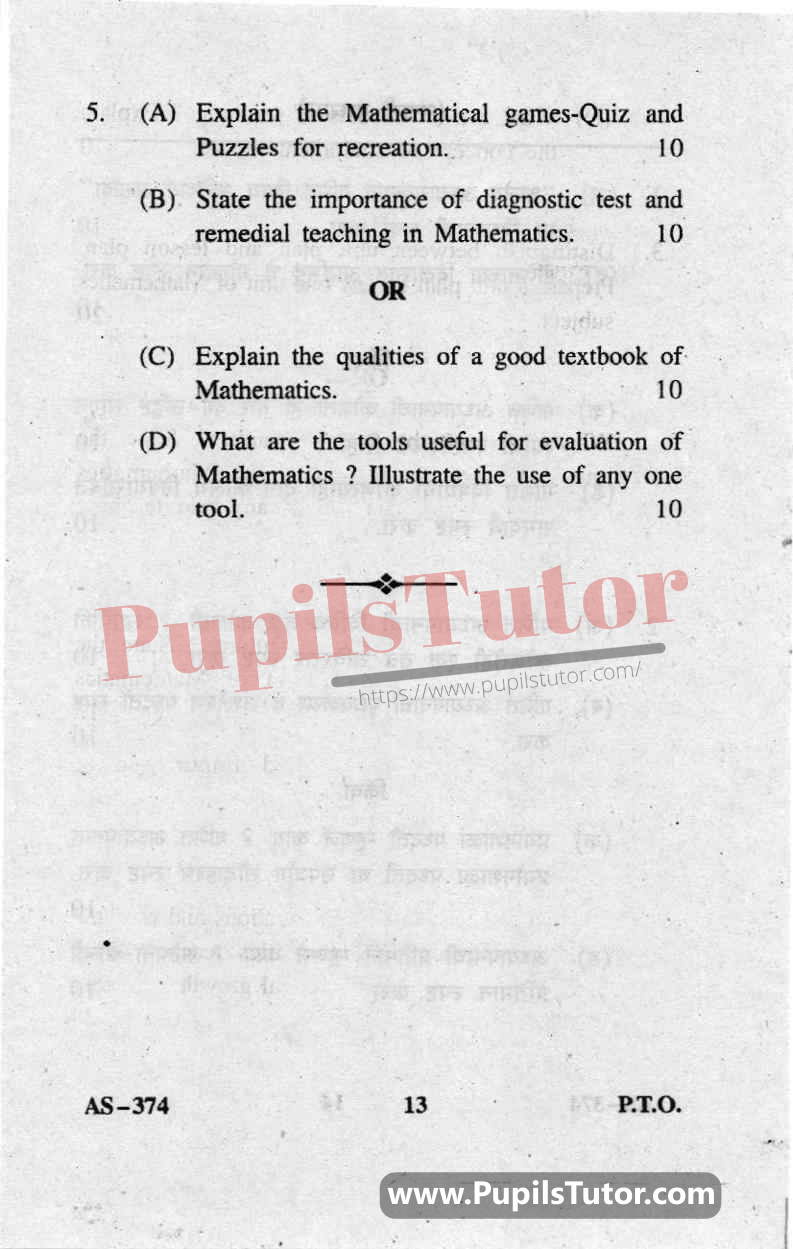 Pedagogy Of Mathematics Question Paper In English