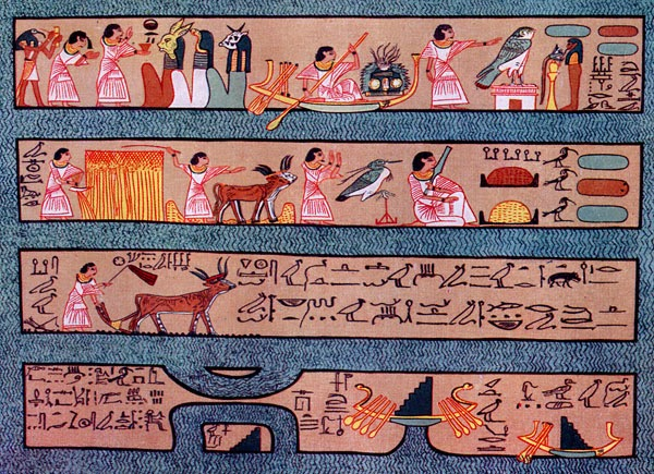 The Field of Hetep depicted in the Papyrus of Ani. It shows Ani interacting with the gods, and performing activities similar to those on earth such as sailing, ploughing, reaping etc.