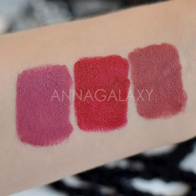 Губная помада Faberlic HD Color 40202 розовая пыль, 40205 мемуары красного, 40200 затмение нюда свотчи