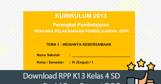 Download RPP K13 Kelas 4 SD Revisi Baru Format DOC