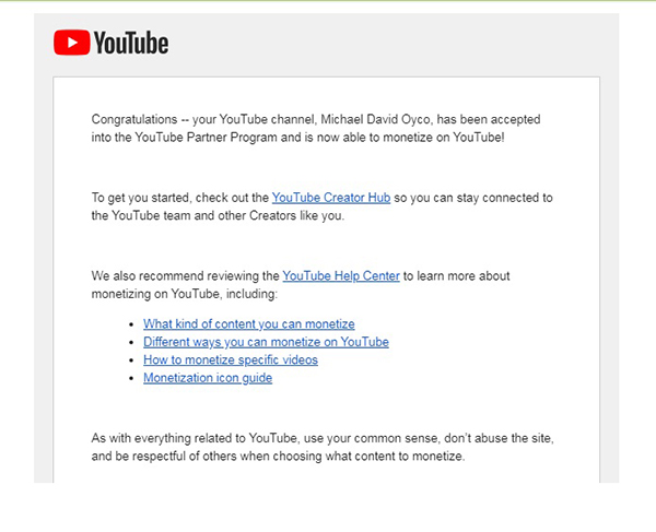 confirmation email from YouTube
