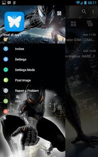 BBM MOD Spiderman Black v3.0.1.25 APK Terbaru Transparan Theme