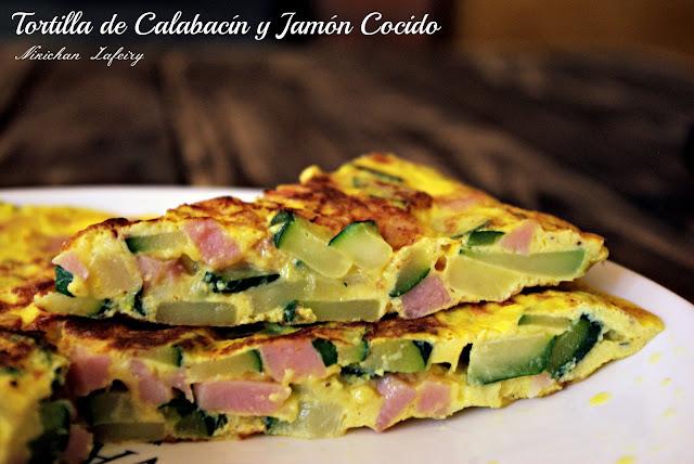 TORTILLA DE CALABACÍN Y JAMÓN COCIDO