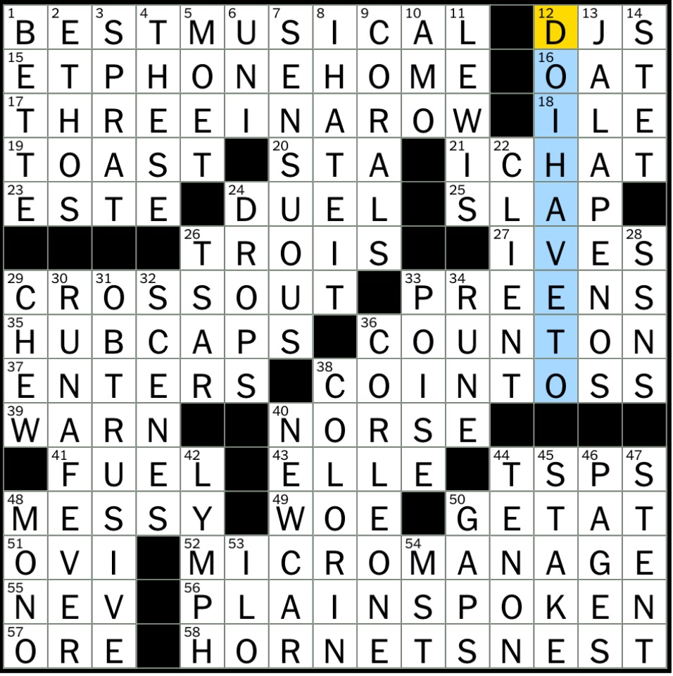 Rex parker does the nyt crossword puzzle award for hairspray but friday july 28 2017 malvernweather Gallery