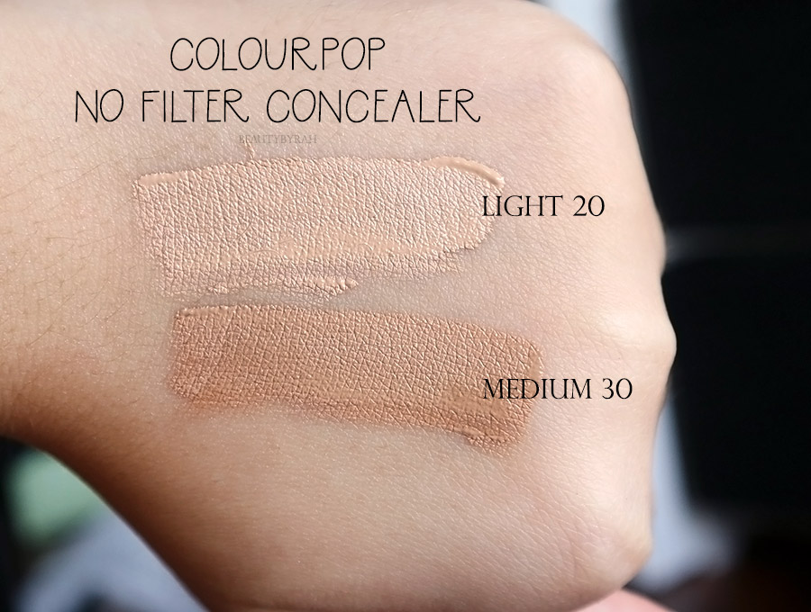 Colourpop No Filter Concealer Light 20 and Medium 30 swatches