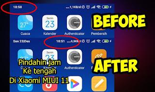 Cara Memindahkan Jam Ke Tengah Di Xiaomi MIUI 11 Tanpa Root