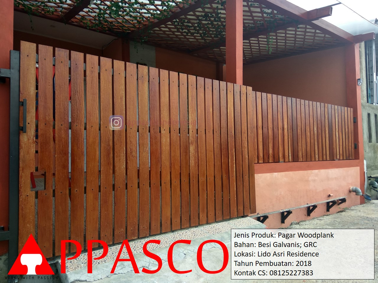 Wood Plank GRC Pagar Motif Kayu di Lido Asri Residence