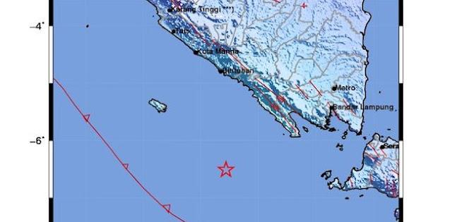 Setelah Bali, Gempa 5,5 SR Guncang Kawasan Pesisir Barat Lampung