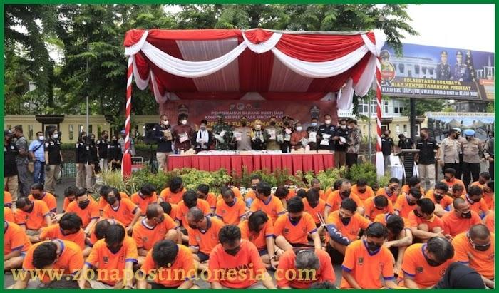 Polrestabes Surabaya Musnahkan 39 Kg Sabu dari 120 Orang Tersangka
