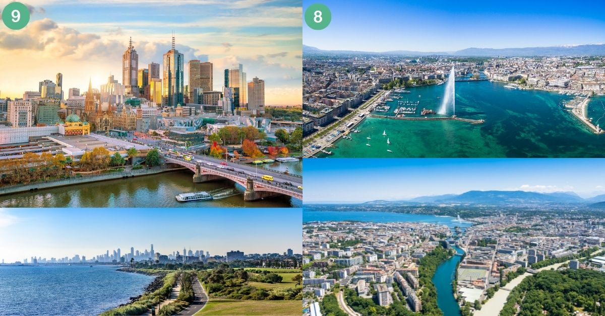 Top 10 Most Livable Cities In The World 2021 - Melbourne and Geneva
