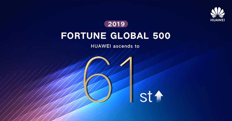 Huawei's Fortune 500 2019 rank is up by 11 spots