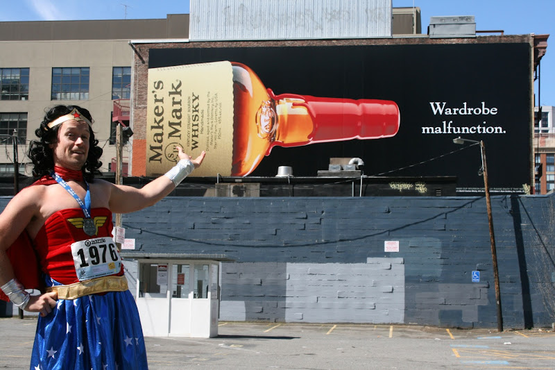 Wonder Woman loves Maker's Mark Wardrobe Malfunction billboard