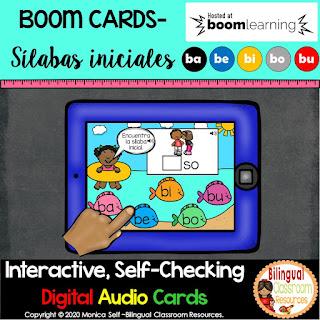 BOOM Cards Sílabas iniciales-ba, be, bi, bo, bu