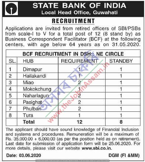 SBI, Guwahati Recruitment 2020: Apply For 12 BCF Vacancies