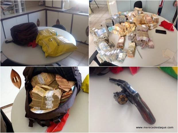 Elemento é preso com malotes de dinheiro roubados de agência bancária na Paraíba