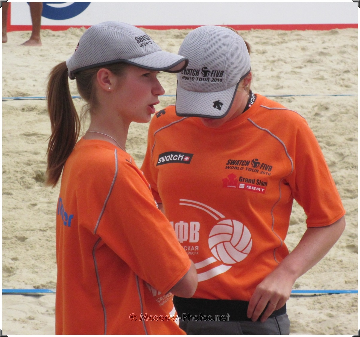 At half-time in beach volleyball